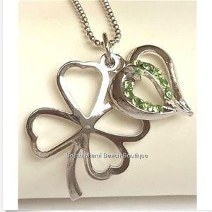 "Silver Shamrock Necklace Green Crystal Irish 18"""